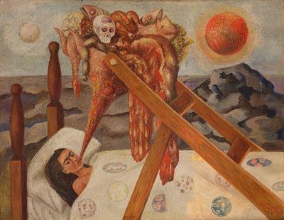 Show Umut Olmadan, 1945, Masonit üzerine yağlıboya, 28 x 36 cm, Museo Dolores Olmedo, Mexico City, Meksika. details