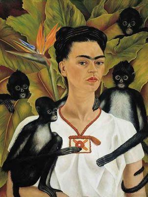 Show Maymunlu Otoportre, 1943, Tuval üzerine yağlıboya, 81.5 x 63 cm, Jacques and Natasha Gelman Collection, Mexico City, Meksika. details