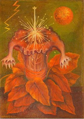Show Yaşam Çiçeği, 1944, Masonit üzerine yağlıboya, 19.8 x 29 cm, Museo Dolores Olmedo, Mexico City, Meksika. details