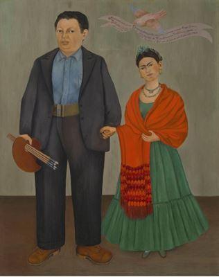 Show Frida ve Diego Rivera, 1931, Tuval üzerine yağlıboya, 100.01 x 78.74 cm, San Francisco Museum of Modern Art, San Francisco, ABD. details