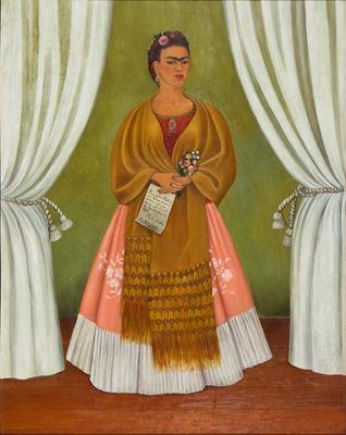 Show Lev Troçki'ye İthaf Edilmiş Otoportre, 1937, Masonit üzerine yağlıboya, 30 x 24 cm, National Museum of Women in the Arts, Washington, ABD. details