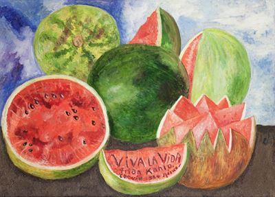 Show Viva la Vida, 1954, Masonit üzerine yağlıboya, 52 x 72 cm, Museo Frida Kahlo, Coyoacán, Meksika. details