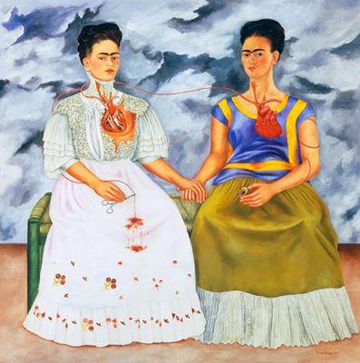 Show İki Frida, 1939, Tuval üzerine yağlıboya, 173.5 x 173 cm, Museo de Arte Moderno, Mexico City, Meksika. details